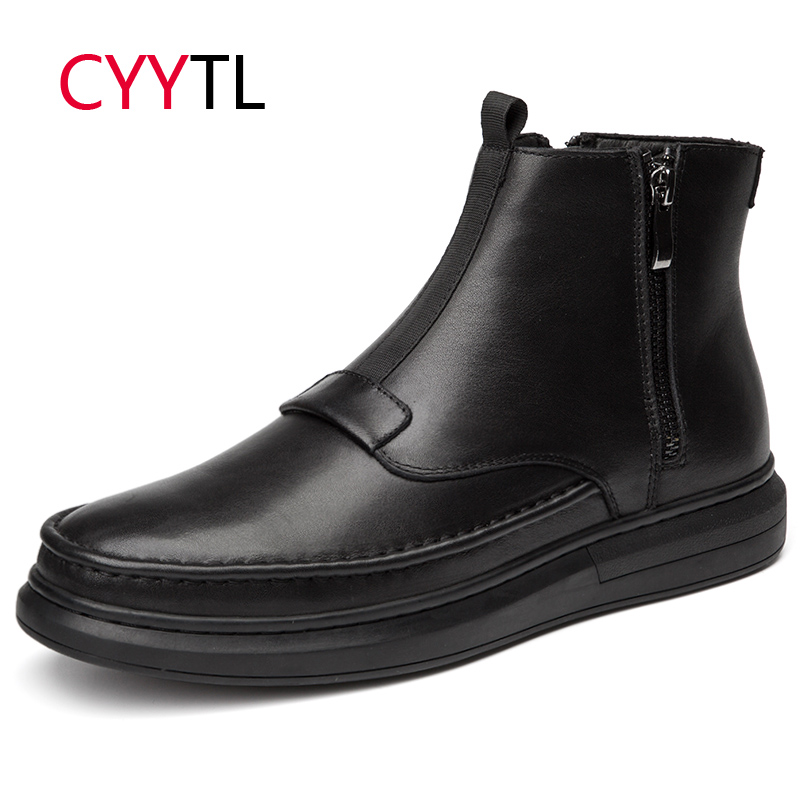 CYYTL High Quality Men Leather Boots Ankle Winter Zipper Male Warm Shoes Motocycle Work Safety Zapatos de Hombre Botas Erkek Bot in Basic Boots from Shoes