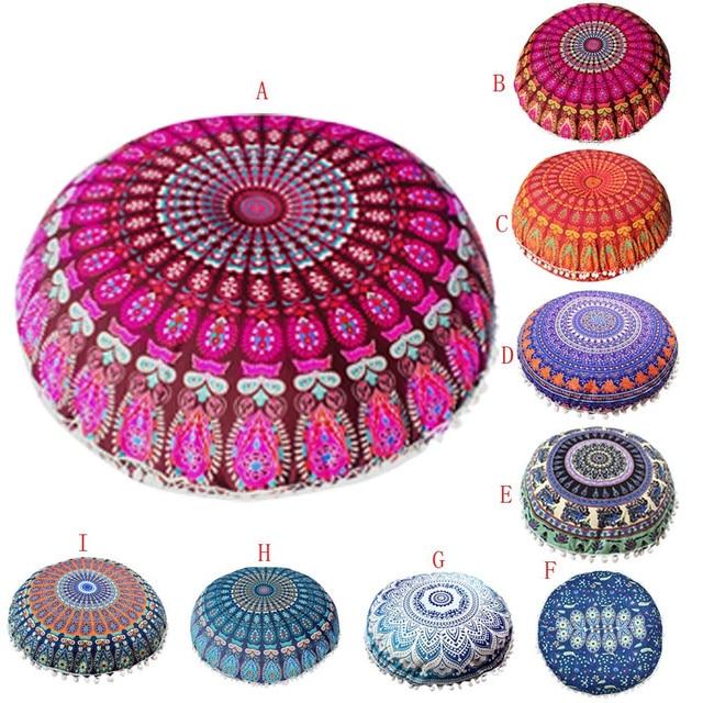 43*43 cm Polyester Indian Mandala Floor Pillows Round Bohemian ...