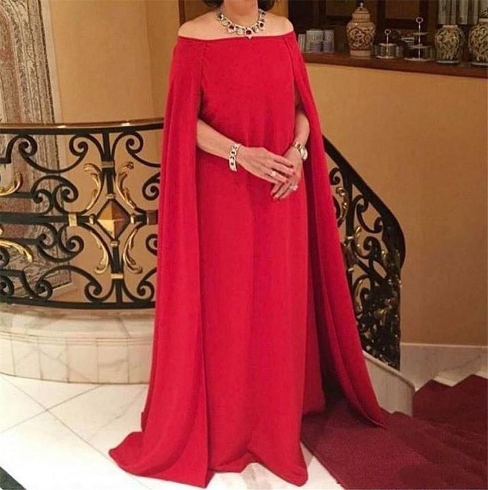 Red Arabic   Evening     Dress   With Cloak 2019 Off The Shoulder A Line Floor Length Long Formal Party   Dresses   Cheap Women Gowns