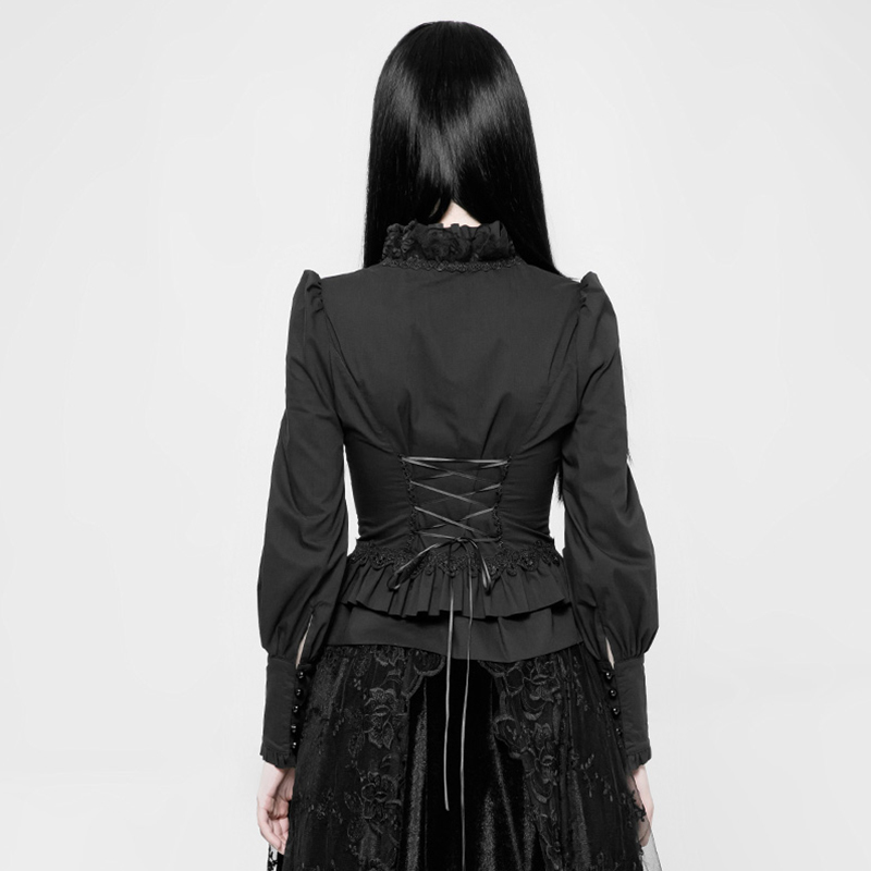 Vintage Lolita de manga larga Camisa de gasa de empalme de encaje camisa primavera y otoño mujer Harajuku blusa de mujer - 3