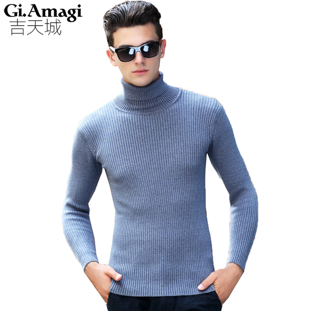 Autumn Winter New Men s Tide Solid Color Thick High-neck Sweater Men s  Fashion Slim Mens bec2de4064
