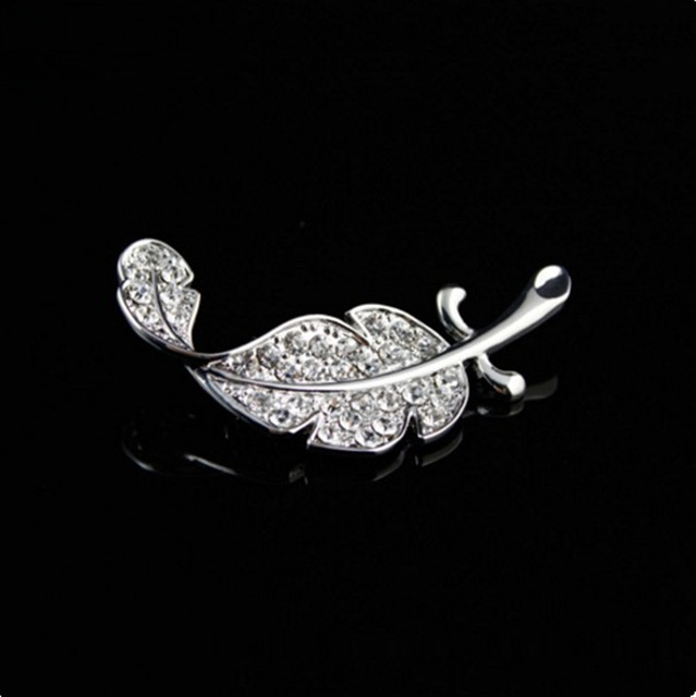 Fashion Luxury Crystal feather brooch Full of crystal brooch leaves small brooch foliage brooch free shipping