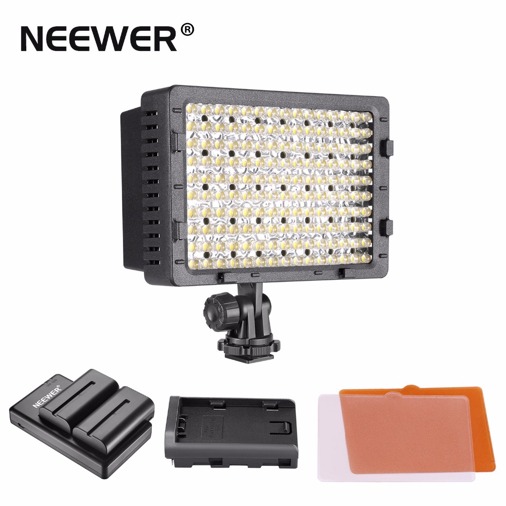 NEEWER 160 LED CN-160 Dimmable Ultra High Power Panel Digital Camera / Camcorder Video Light, LED Light W/ 2 Pack battery