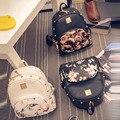 Women Fashion Flower Printing Rivet Backpack PU Leather Backpacks Travel Backpack Girls School Bags 2016 Hot Sale