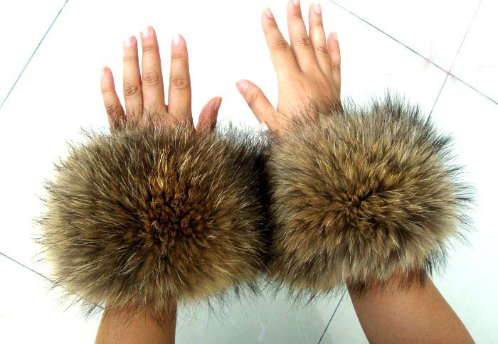 Women's clothes clothing accessories raccoon fur wool cuff sleeves fox fur fur collar cuff cufflinks
