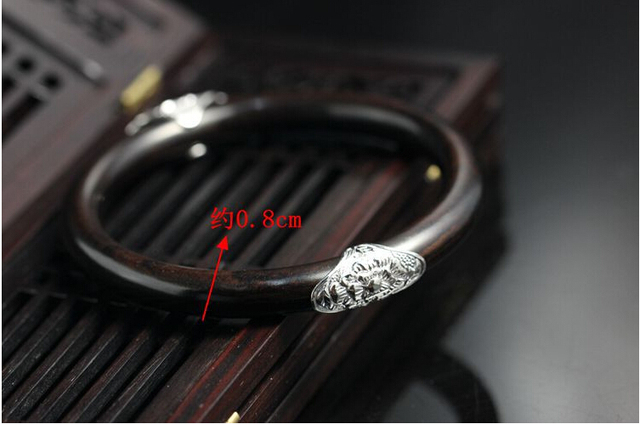 Handmade mahogany ebony 925 sterling silver bracelet lotus flower