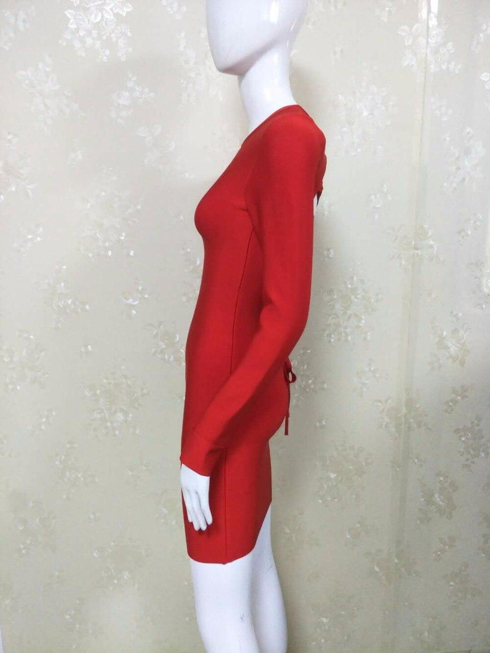 Évider O rouge Cou D'été Party Noir Rouge Moulante Celebrity Femmes Robe Retour Manches 2017 Croix Cocktail Noir Bandage Longues b7vfYgy6