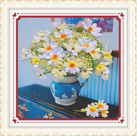 3D embroidery ribbons flower canvas art diy cross stitch kits embroidery needlework sets printed cloth picture broderie fleur