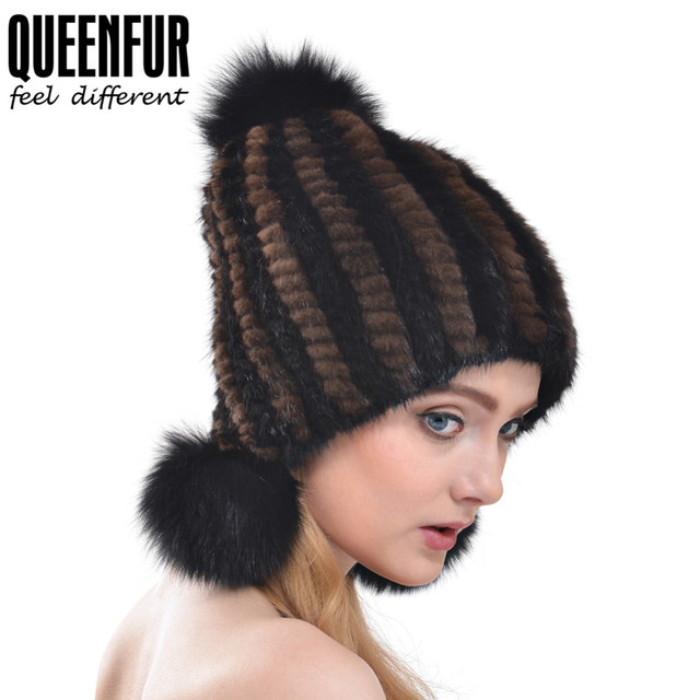 e506048b4b1 QUEENFUR Real Mink Fur Hat Ear Protector Cap Knitted Bomer Hat With Fox Fur  Pom Poms