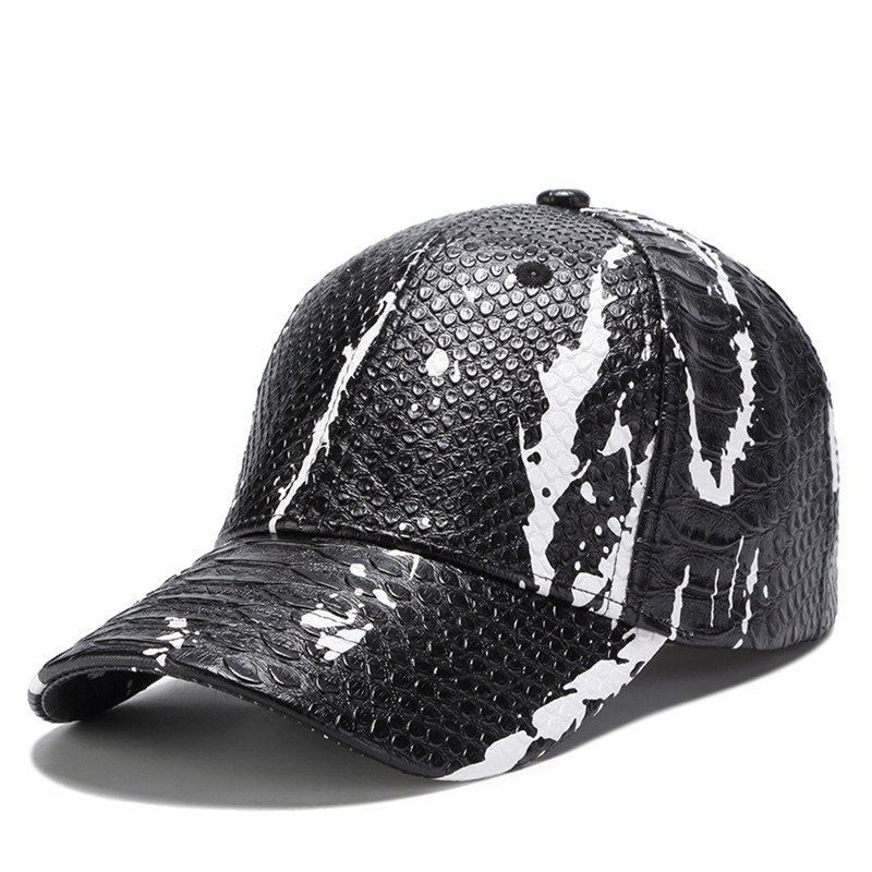 Fine 2018 New Dad Caps Male Simple Leather Baseball Cap Snake Skin Leather Hat Casual Snapback Hat Gift For Father Or Boys