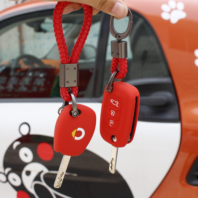 New Smart Fortwo Forfour 453 Color Silicone Key Case Car Remote Control Accessories Keychain Alarm Straight Key Ring Logo Cover image