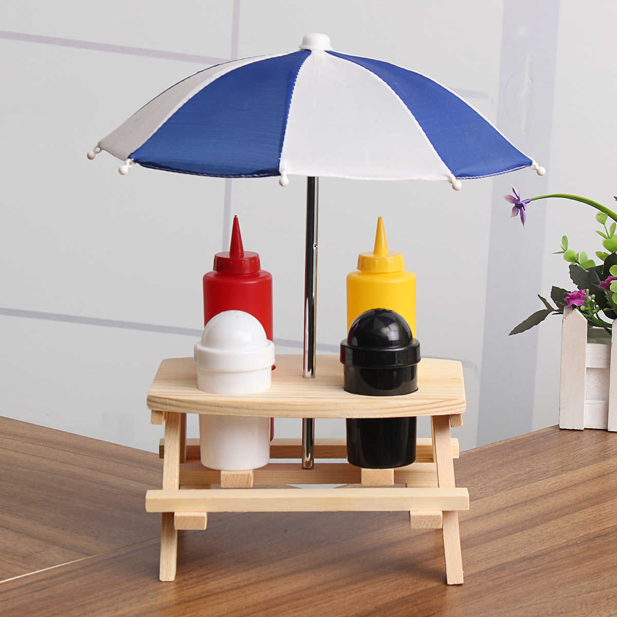 Настольный зонтик скамейка емкость для приправы набор банок соус для соуса с соусом для пикника и отдыха на природе барбекю Кухонные аксессуары подставка для специй
