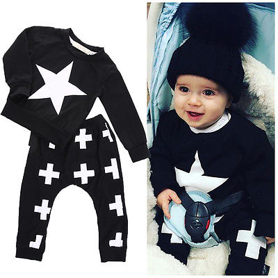 2016 Newest 2 Pcs Baby Boy Girls Clothes Long SleeveTops Star T-shirt+Cross Pants Leggings Outfits Set Tracksuit 6M-3Y штаны для мальчиков baby boy pants kd 6 2015 infantil kd 2 3 4 5 6 xtk 66