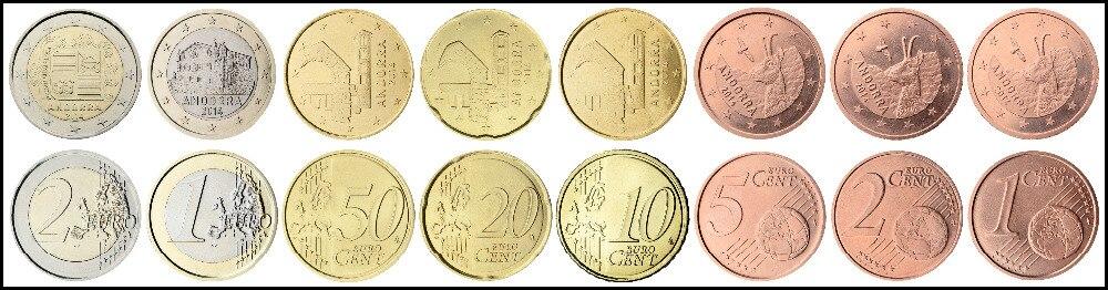 8pcs Andorra 2016 17 year coin original coins coin Not circulated