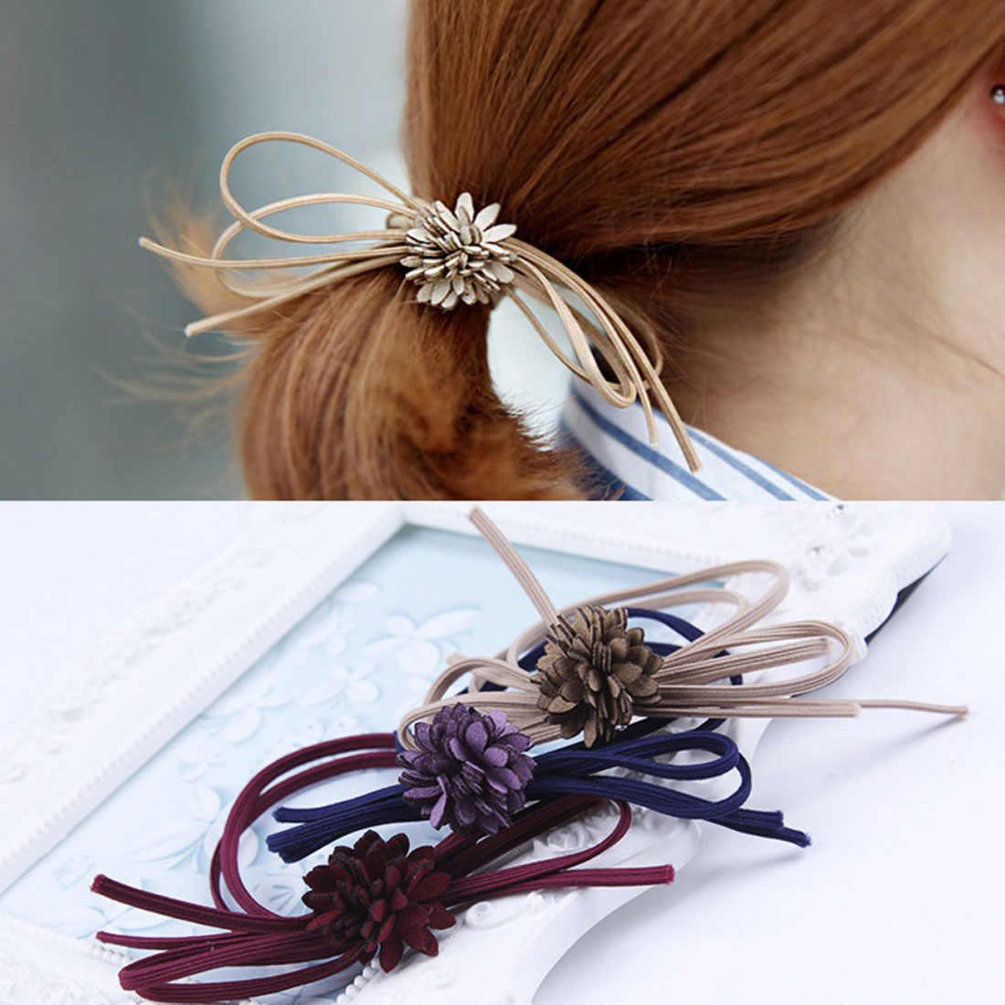 Топ женские Модные волосы луки эластичные ленты для волос для Для женщин милые дизайнеров конский хвост держатели глава веревка волос Acceessories