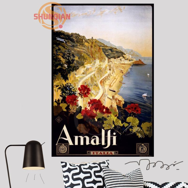 Home Decor Custom Vintage Travel Canvas Cloth Poster Wall Poster For Living Room Print Silk Fabric