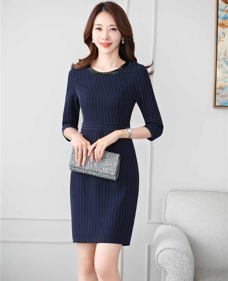 f71db8a280d Модные женские туфли работы платья для женщин Половина рукава Формальные  Дамы Летнее платье темно синие в