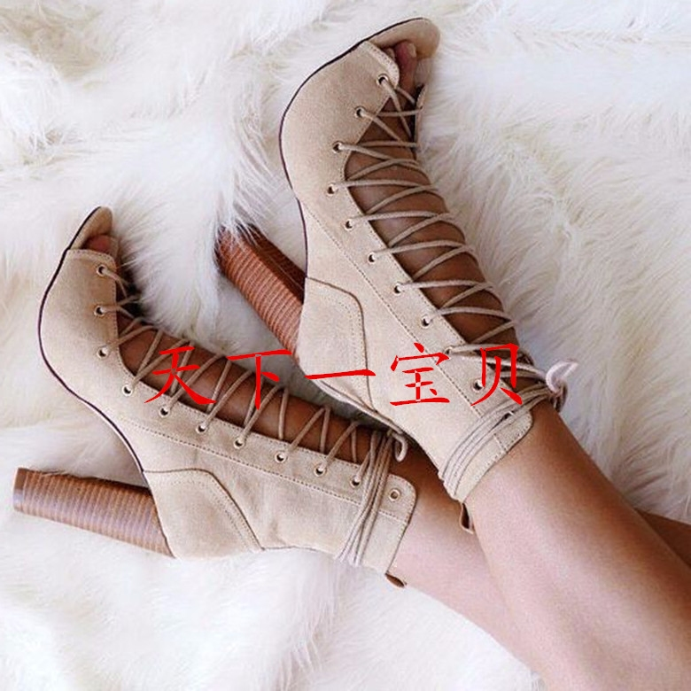 Akamatsu New Arrival Fashion Cross-tied Summer Boots Suede Solid Sexy Leather Ankle Boots High Chunky Heel Lace Up Women Shoes new arrival lace up women sexy peep toe sandals cross tied slingback gladiator heel shoes street style ankle boots women shoes