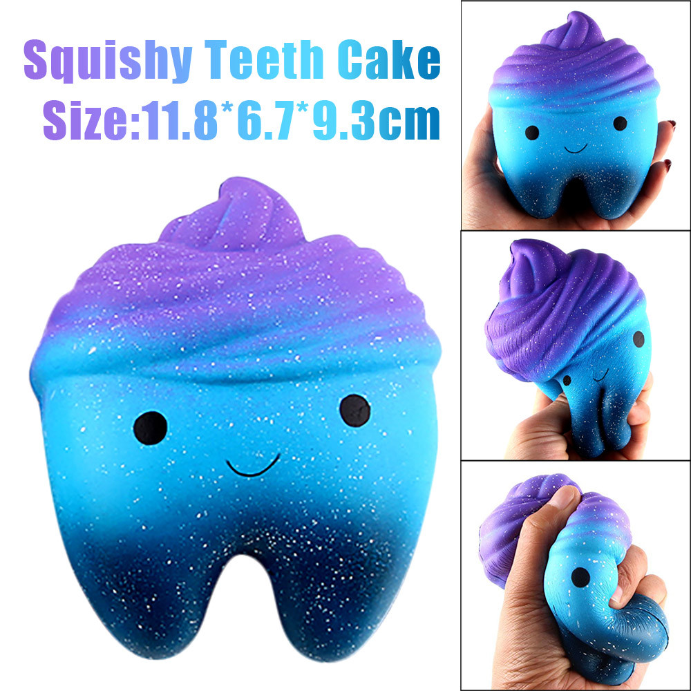 12cm Galaxy Teeth Cake Squishy Scented Slow Rising Cream Healing Fun Squeeze Toys Stress Relief Decor Anti Stress Toy Kids Gifts pa93 pu foam shrimp model squishy relieve stress toy
