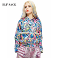 ELF SACK fashion brand new arrival 2016 autumn women oil painting print loose beading short jacket single breasted free shipping