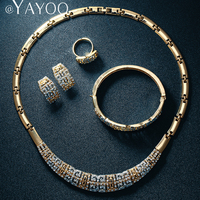 Necklaces Earrings Rings Bracelet Bangle Jewelry Sets For Women 18K Gold Plated Wedding Accessories Party Gift