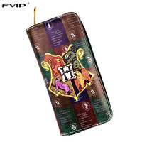 FVIP High Quality Anime Cartoon Harry Potter Long Wallet Hogwarts Gryffindor Wallet Men Women Purse Long