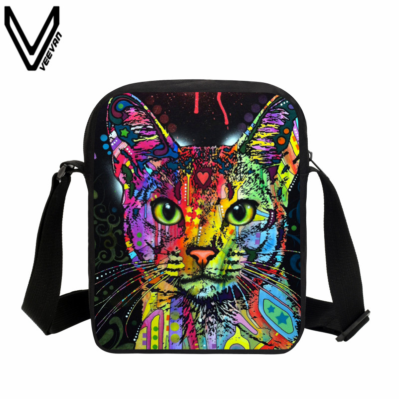 VEEVANV 2018 New Design School Messenger Bags Cat Animal Printing Crossbody Bags Children Cute Shoulder Bag Girls Handbags Small minions ninja mini messenger bag children cute animal dog cat horse printing school bags boys kids book bag for snack best gift