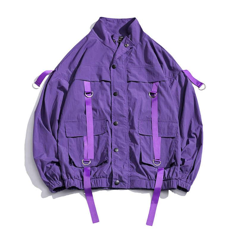 2019 新着メンズファッション男性のオーバーオール薄型ボンバージャケット夏リボンルースポケットコートヒップホップ風ジャケット us サイズ