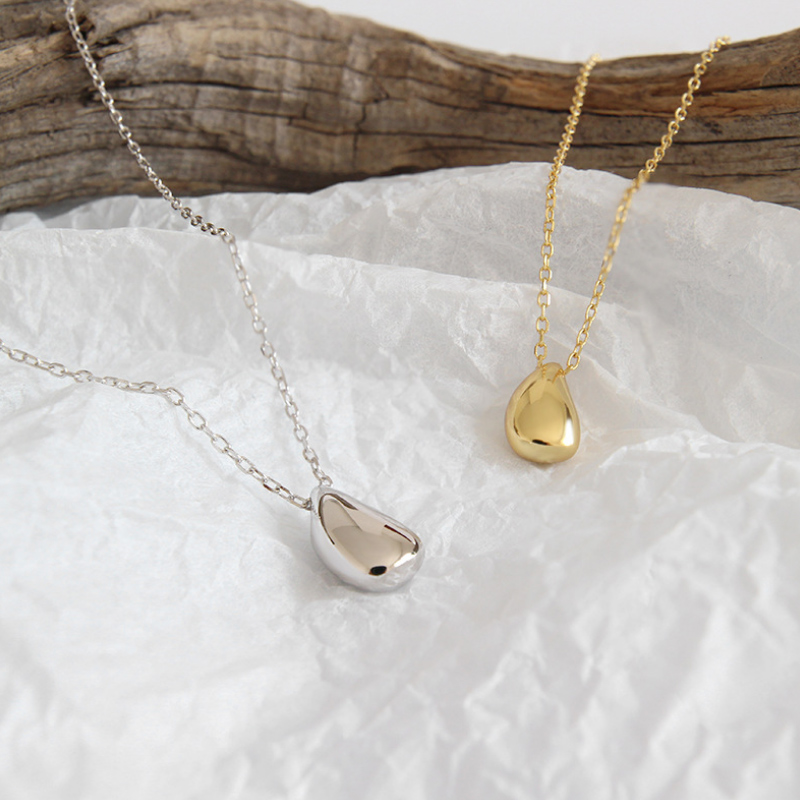 F I N S Simple 925 Sterling Silver Smooth Teardrop Necklace Pendant Personality Short Silver Necklace 925 Jewelry Korean Fashion in Pendant Necklaces from Jewelry Accessories