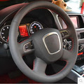 Special Hand-stitched black Genuine Leather Steering Wheel Cover For AUDI Old A4 B7 B8 A6 C6 2004-2011 Q5 2008-2012 Q7 2005-2011
