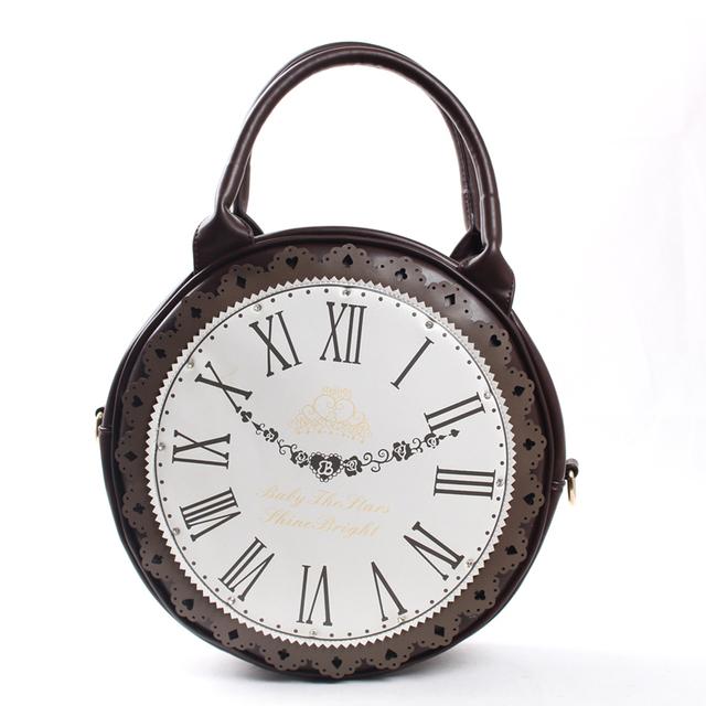 Harajuku soft vintage preppy style big clock bags rhinestone laciness messenger bag female bag portable lolita