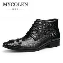MYCOLEN Handmade Genuine Crocodile Leather Men Autumn Winter Boots High Quality Winter Ankle  Boots For Men askeri bot mycolen the new listing autumn brand boots for stitching buckle tip scalp boots shoes luxury designers men boots erkek bot