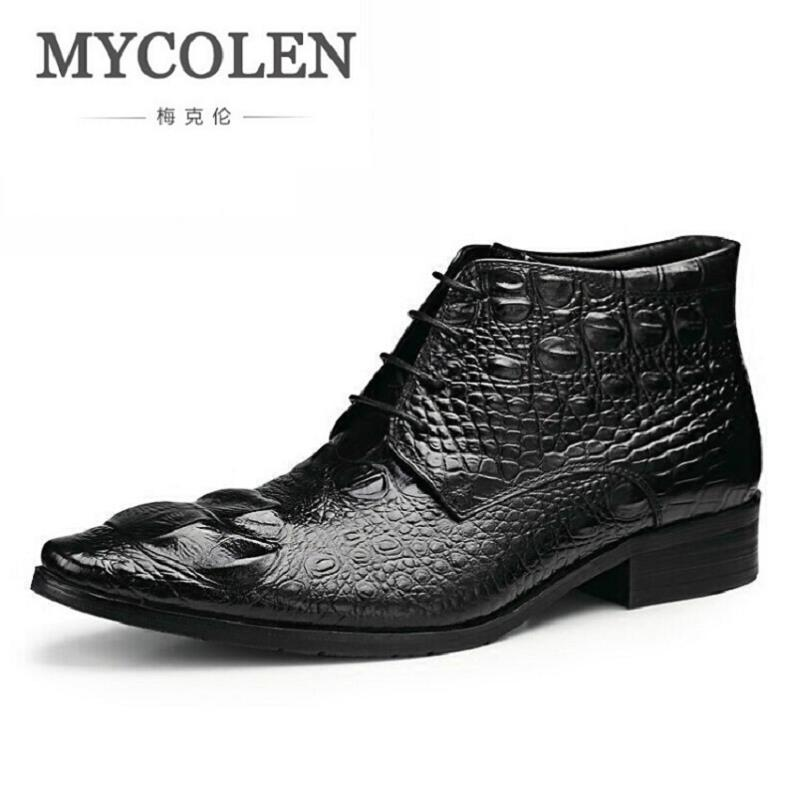 MYCOLEN Handmade Genuine Crocodile Leather Men Autumn Winter Boots High Quality Winter Ankle Martin Boots For Men askeri bot mulinsen latest lifestyle 2017 autumn winter men
