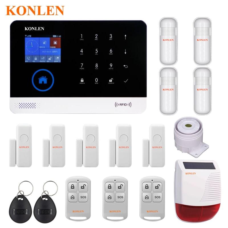 US $70 78 20% OFF|KONLEN House Security GSM Wifi Alarm System Kits Wireless  Strobe Siren Solar Horn Smoke Detector RFID Remote Control Rir Sensor-in