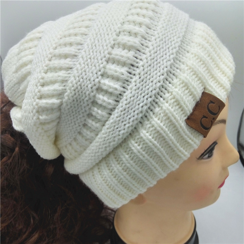 5170ee0ecd888 Online Shop 2017 New Adult Gorro C Women s Chucky Stretch Cable Knit Slouch  Cc Ponytail Holder Beanie Skully Warm Ski Hat