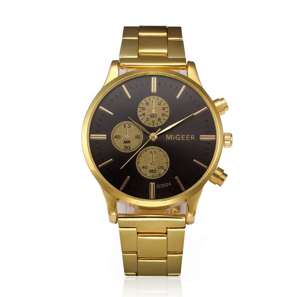 Classic Geneva Golden Watch Men's Watches Fashion Stainless Steel Belt Watches Luxury Bracelet Clock Gift Quartz Wristwatch #S