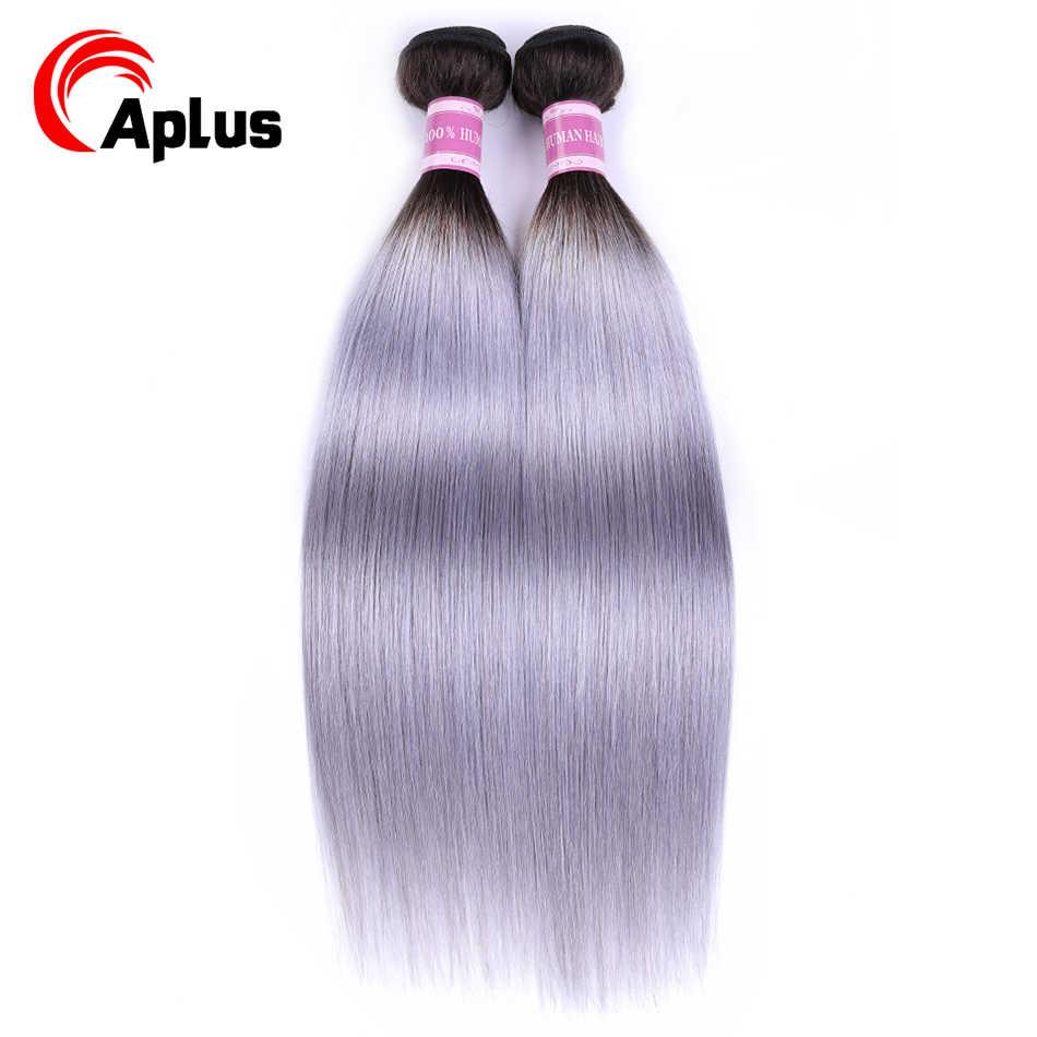 """Aplus cabelo t1b/cinza ombre brasileiro tecer cabelo reto prata cinza ombre feixes de cabelo humano 4 pçs extensão não remy 10 """"-24"""""""