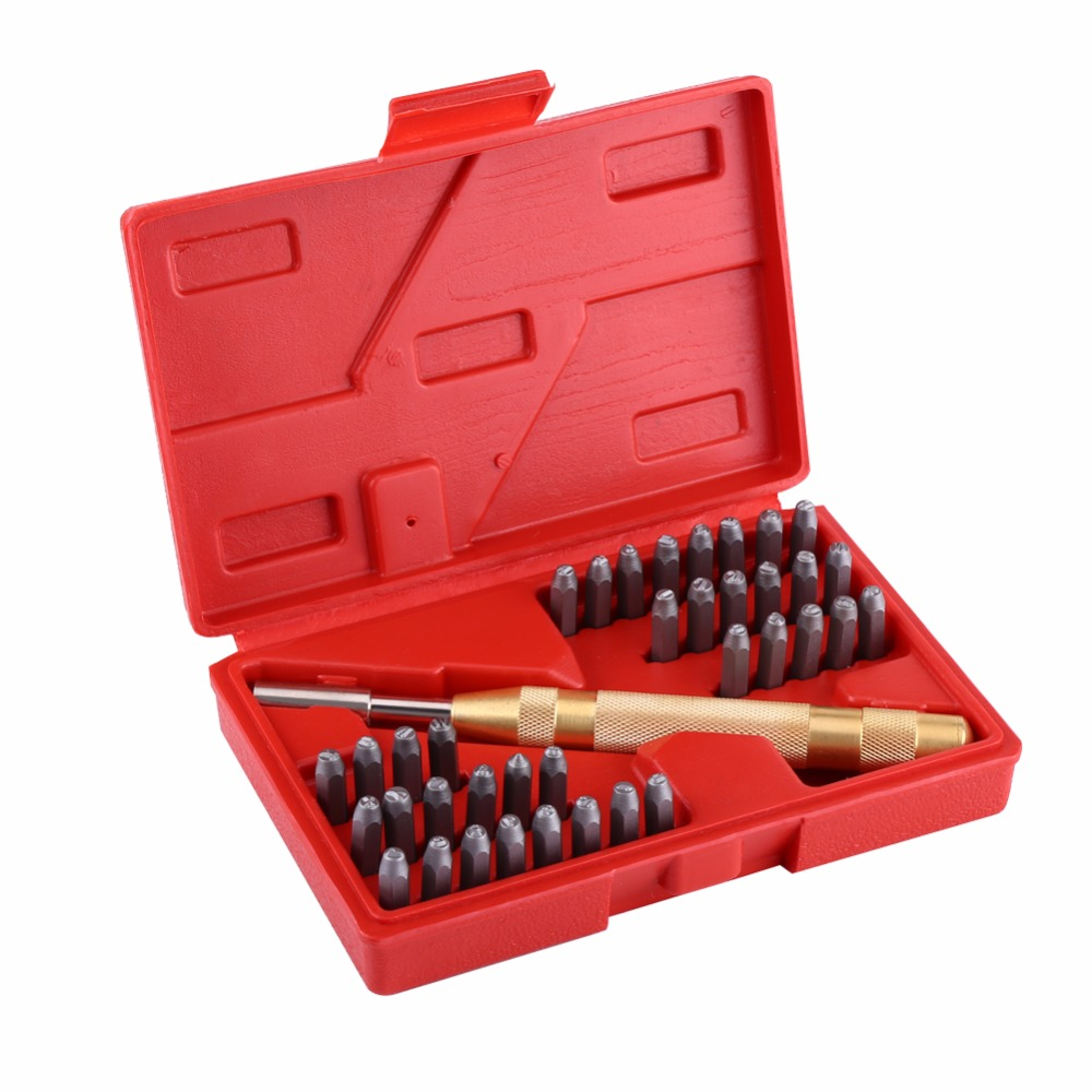 38pc Automatic Letter Number Stamping Metal Punch Stamp Set Tool Kit for Plastics Leather Mark Metal Punch Imprint Stamping Die marking tools
