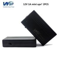 2 pz di 12 V 1A 12 W mini piccola dimensione ups dc 12 V uscita batteria al litio ricaricabile portatile mini ups di alimentazione di backup