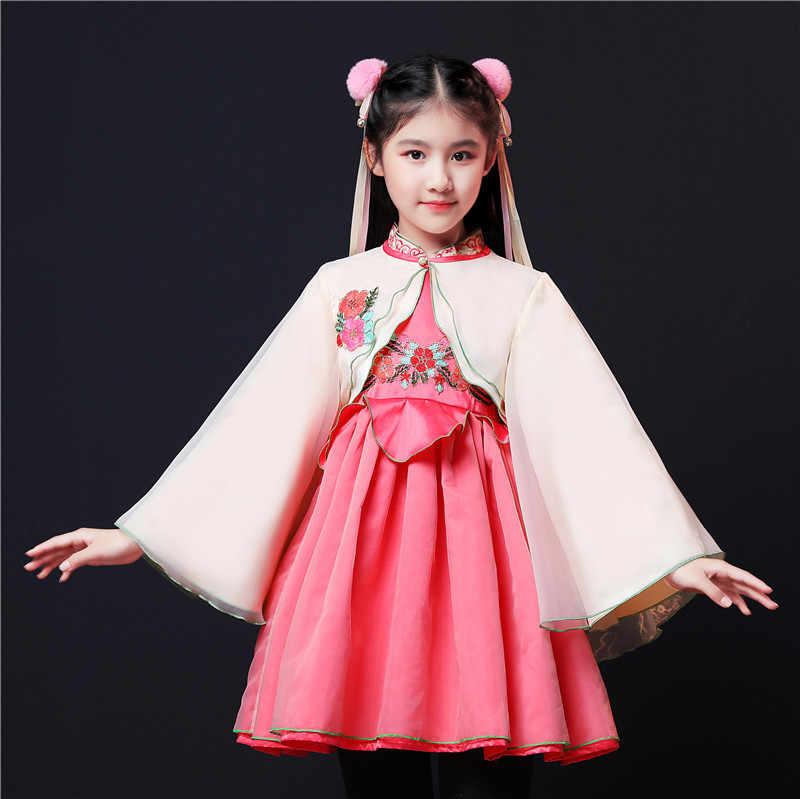 Meninas bonitos Crianças Cheongsam Vestido Tradicional Chinês Antigo Hanfu Trajes De Dança Folclórica de Ano Novo Roupas de Menina para 4 para 8 ano