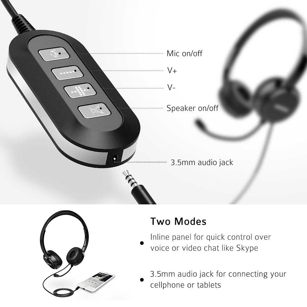 mpow pa071 wired headphones headset with noise reduction sound card 3 5mm usb plug earphone  [ 1000 x 1000 Pixel ]