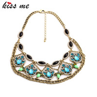 Shining Blue Opal Teardrops Flowers Bib Pendants Women Vintage Collar Necklace Retro Jewelry Factory Wholesale