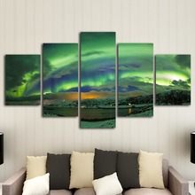 HD printing 5 pieces of aurora canvas art painting modern home decoration mural living room decorative