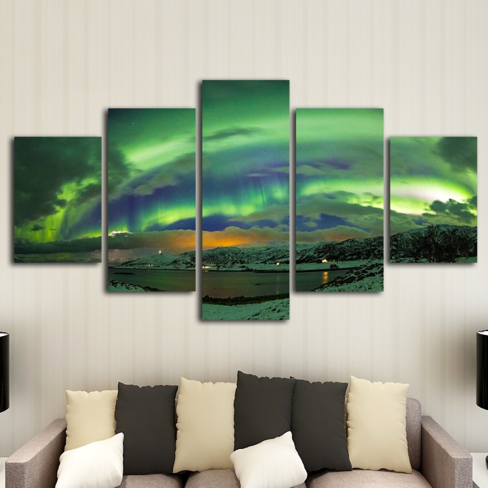 HD printing 5 pieces of aurora canvas art painting modern home decoration mural art printing living room decorative painting