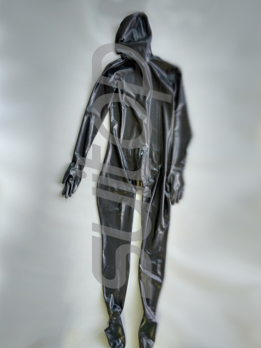 Hommes de taille personnalisée de noir 0,4mm Mâle de latex catsuit avec penies préservatifs (à l'intérieur) Avant et arrière
