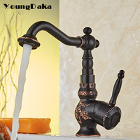 Solid Brass Bathroom Sink Basin Faucet Black Antique Brass Vintage Style Hot & Cold Mixer Tap Deck Mounted Kitchen Single Handle