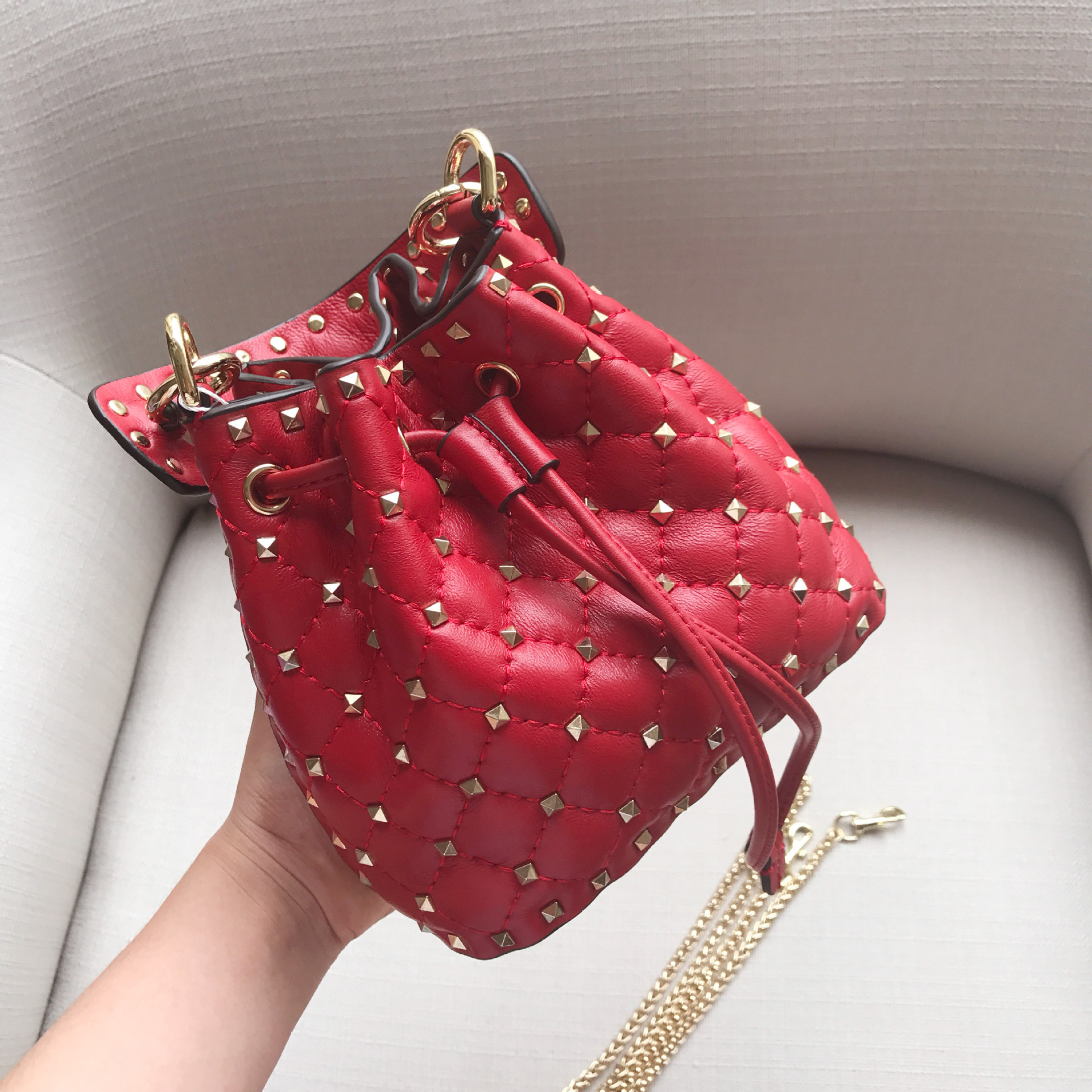 2018 NEW ALL-MATCH FASHION LEATHER HAND CLUTCH BAG LARGE SPAN SINGLE Diamond Chain Bag Sheepskin Hand-held Diagonal Shoulder Bag polaris am pilgrim