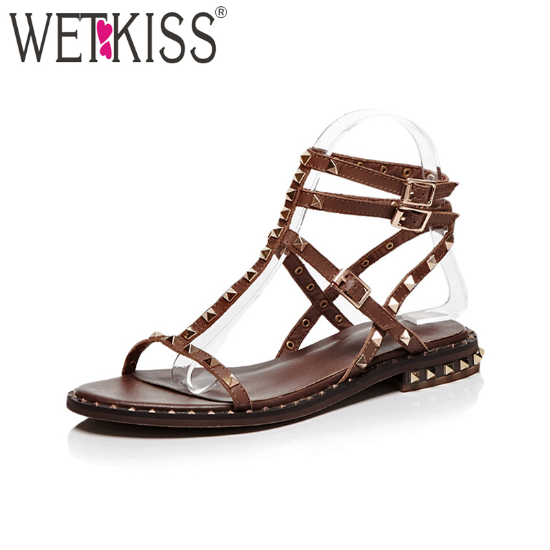 WETKISS Punk Style Women Sandals Genuine Leather Rivet Gladiator Sandals Lady Chunky Heel Summer Shoes Woman Footwear Big Size summer tassel sandals fashion rivet gladiator sandals women flats big size hollow shoes woman casual sandal free shipping