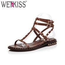 WETKISS/в стиле панк женские босоножки из натуральной кожи с заклепками Римские сандалии леди на не сужающемся книзу массивном каблуке женская летняя обувь большой Размеры