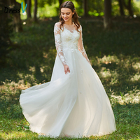 Dressv Long Wedding Dresses Scoop Neck Long Sleeves Tulle A Line Lace Zipper Up Elegant Church Garden Custom Wedding Dresses
